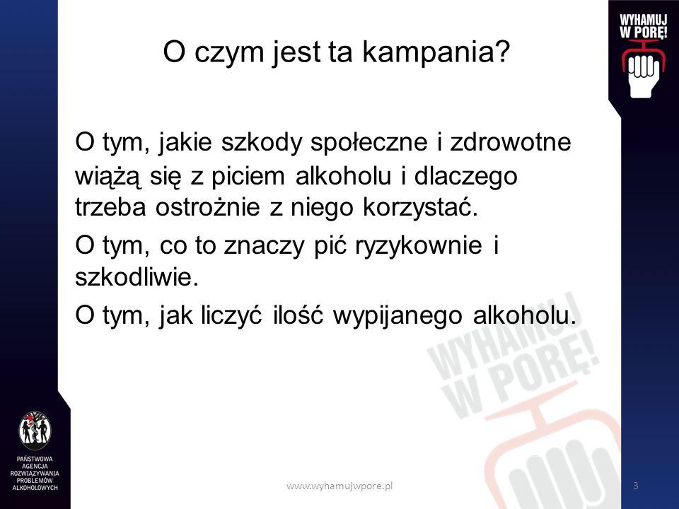 www.wyhamujwpore.pl24 Maksymalny bezpieczny poziom stężenia alkoholu we krwi Powyżej stężenia 0,6 promila skutki spożycia alkoholu są już wyraźnie negatywne.