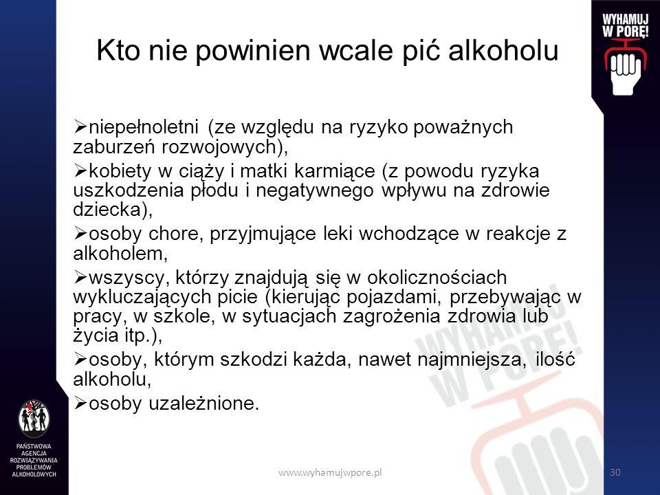 www.wyhamujwpore.pl30 Kto nie powinien wcale pić alkoholu niepełnoletni (ze względu na ryzyko poważnych zaburzeń rozwojowych), kobiety w ciąży i matki karmiące (z powodu ryzyka uszkodzenia płodu i negatywnego wpływu na zdrowie dziecka), osoby chore, przyjmujące leki wchodzące w reakcje z alkoholem, wszyscy, którzy znajdują się w okolicznościach wykluczających picie (kierując pojazdami, przebywając w pracy, w szkole, w sytuacjach zagrożenia zdrowia lub życia itp.), osoby, którym szkodzi każda, nawet najmniejsza, ilość alkoholu, osoby uzależnione.