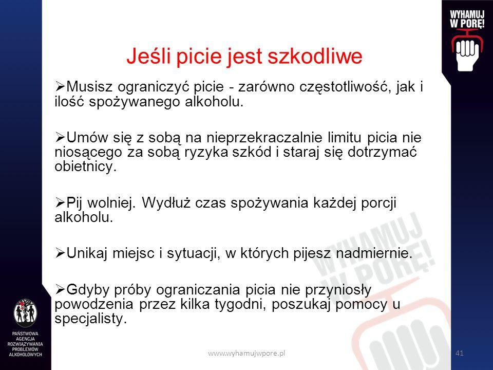 www.wyhamujwpore.pl41 Jeśli picie jest szkodliwe Musisz ograniczyć picie - zarówno częstotliwość, jak i ilość spożywanego alkoholu.