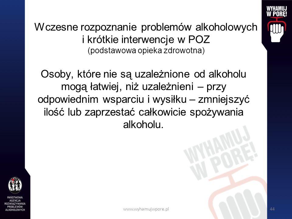 www.wyhamujwpore.pl44 Wczesne rozpoznanie problemów alkoholowych i krótkie interwencje w POZ (podstawowa opieka zdrowotna) Osoby, które nie są uzależnione od alkoholu mogą łatwiej, niż uzależnieni – przy odpowiednim wsparciu i wysiłku – zmniejszyć ilość lub zaprzestać całkowicie spożywania alkoholu.