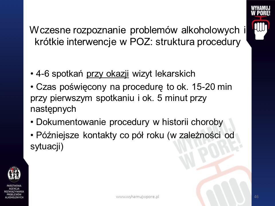 www.wyhamujwpore.pl46 Wczesne rozpoznanie problemów alkoholowych i krótkie interwencje w POZ: struktura procedury 4-6 spotkań przy okazji wizyt lekarskich Czas poświęcony na procedurę to ok.