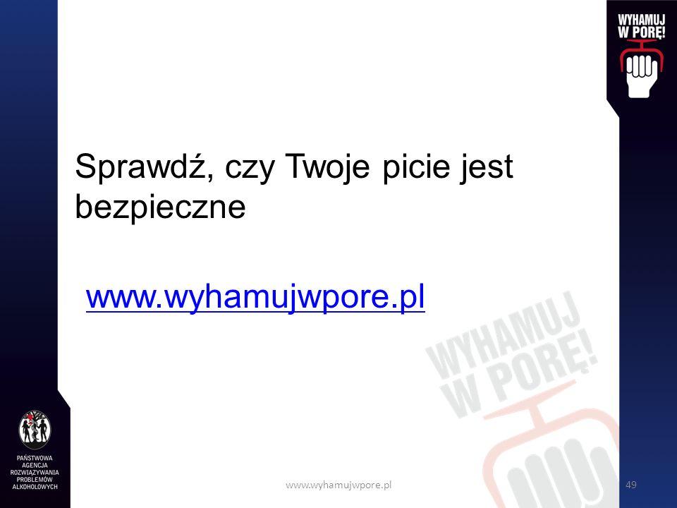 www.wyhamujwpore.pl49 Sprawdź, czy Twoje picie jest bezpieczne www.wyhamujwpore.pl