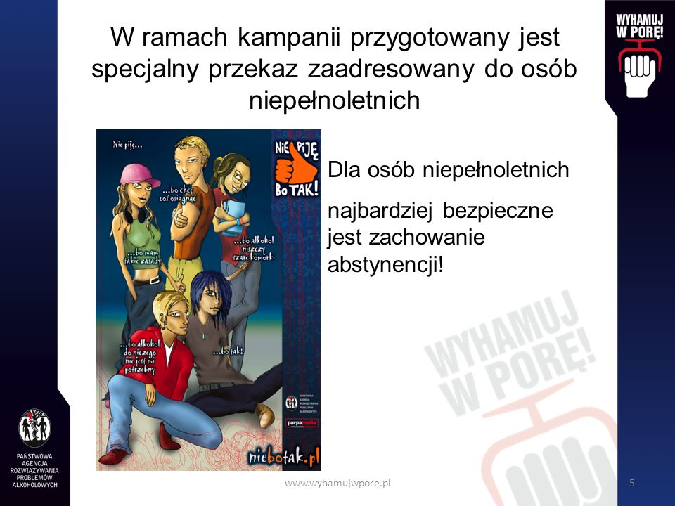 www.wyhamujwpore.pl5 W ramach kampanii przygotowany jest specjalny przekaz zaadresowany do osób niepełnoletnich Dla osób niepełnoletnich najbardziej bezpieczne jest zachowanie abstynencji!