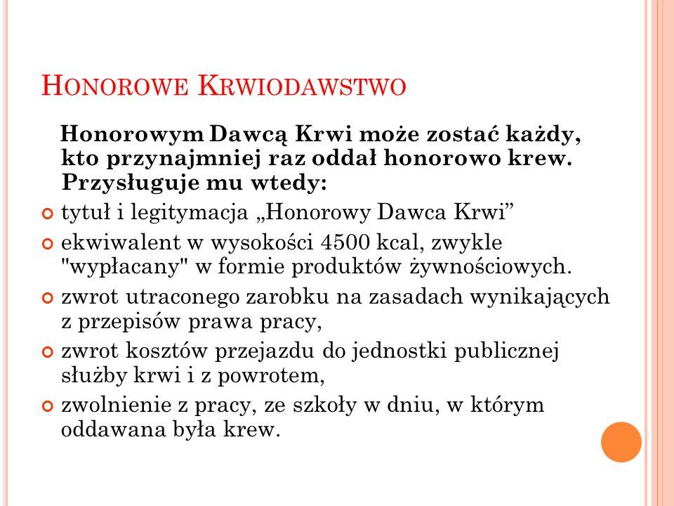 H ONOROWE K RWIODAWSTWO Honorowym Dawcą Krwi może zostać każdy, kto przynajmniej raz oddał honorowo krew.