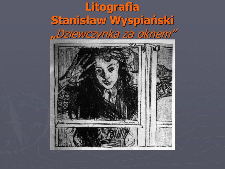 Litografia Stanisław WyspiańskiDziewczynka za oknem