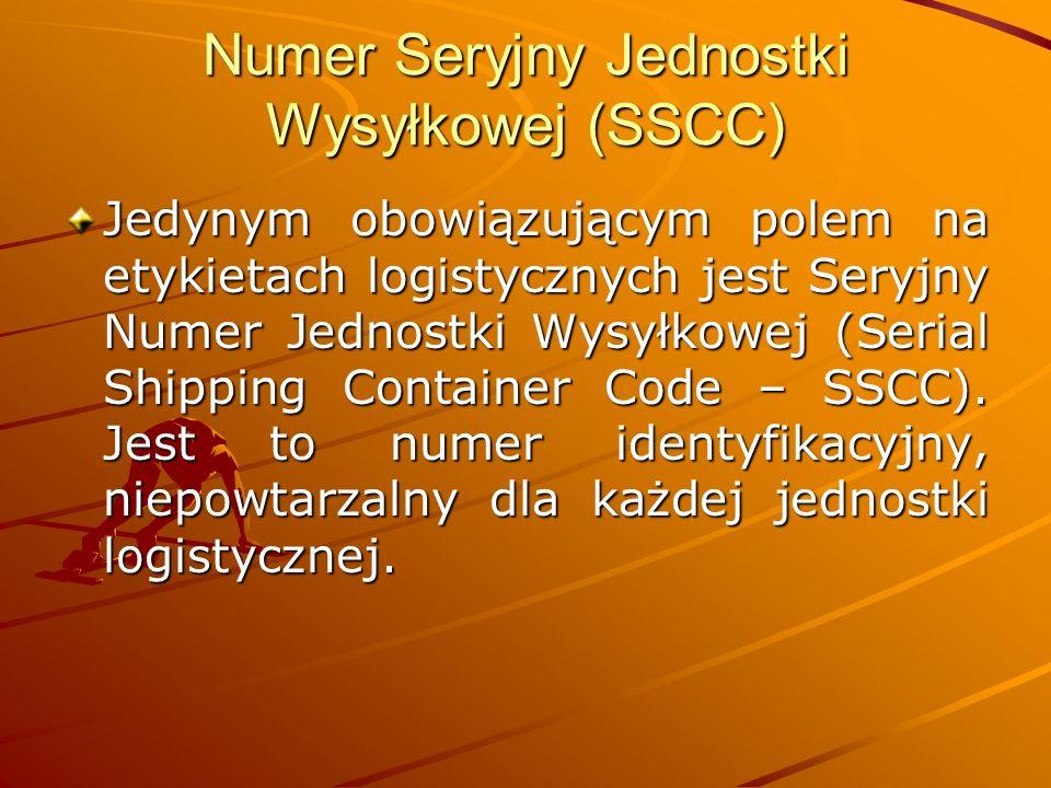 Numer Seryjny Jednostki Wysyłkowej (SSCC) Jedynym obowiązującym polem na etykietach logistycznych jest Seryjny Numer Jednostki Wysyłkowej (Serial Shipping Container Code – SSCC).