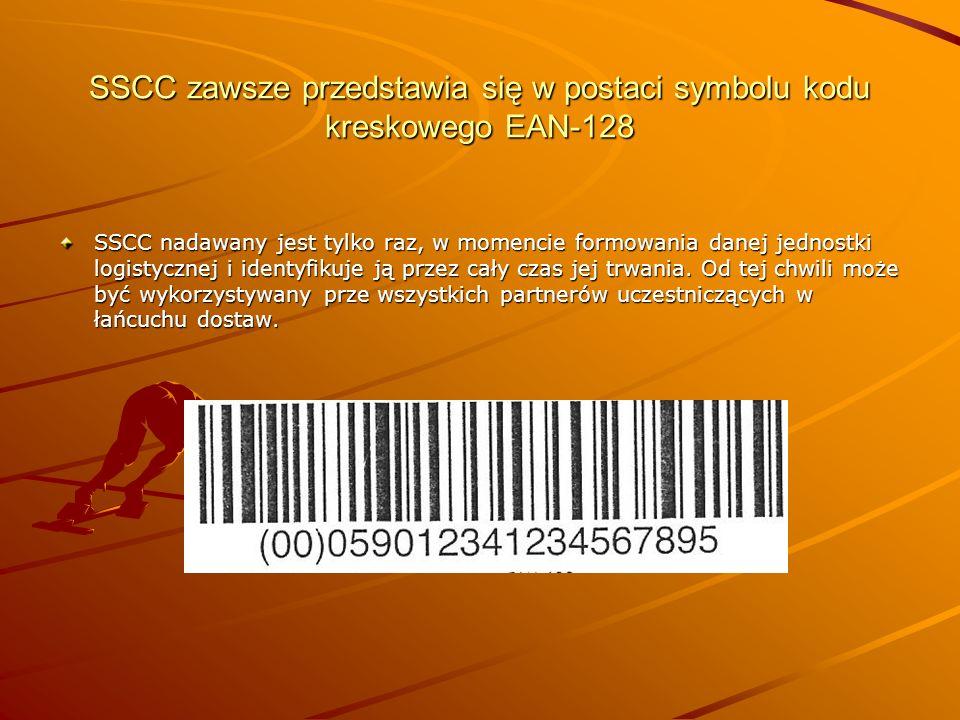 SSCC zawsze przedstawia się w postaci symbolu kodu kreskowego EAN-128 SSCC nadawany jest tylko raz, w momencie formowania danej jednostki logistycznej i identyfikuje ją przez cały czas jej trwania.