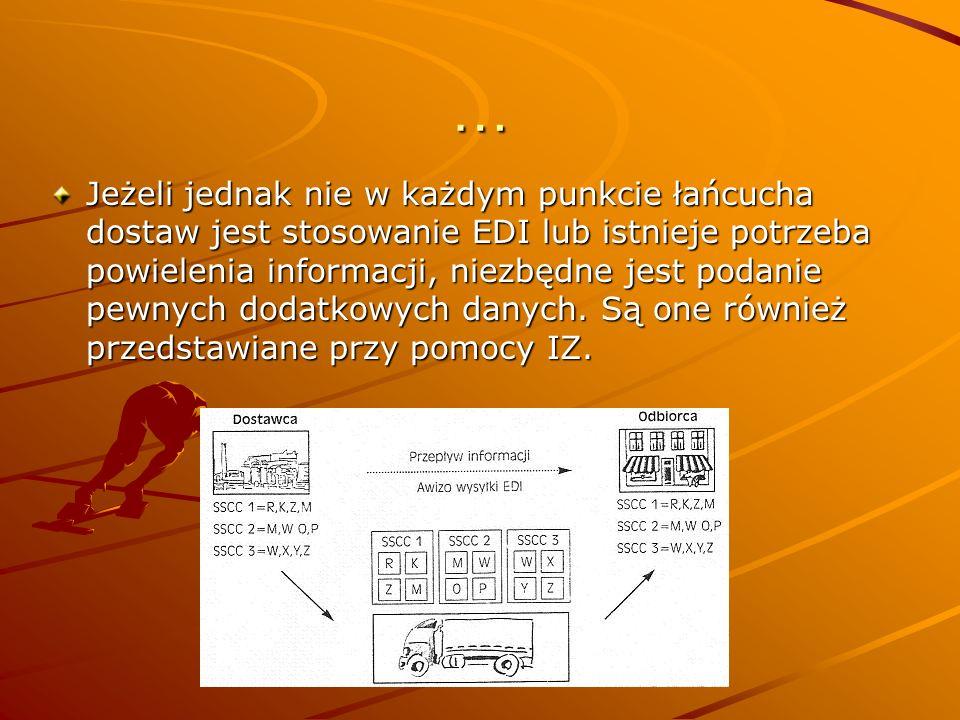 … Jeżeli jednak nie w każdym punkcie łańcucha dostaw jest stosowanie EDI lub istnieje potrzeba powielenia informacji, niezbędne jest podanie pewnych dodatkowych danych.