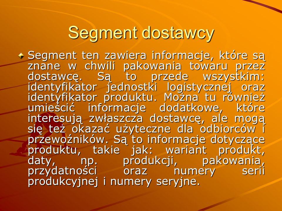 Segment dostawcy Segment ten zawiera informacje, które są znane w chwili pakowania towaru przez dostawcę.