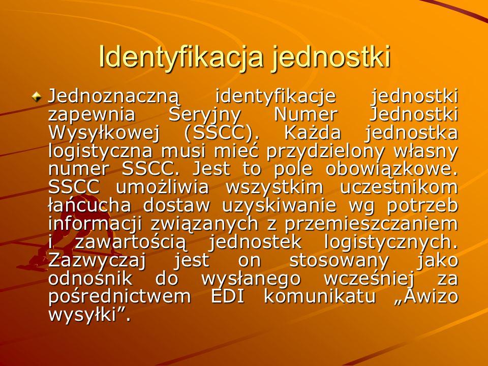 Identyfikacja jednostki Jednoznaczną identyfikacje jednostki zapewnia Seryjny Numer Jednostki Wysyłkowej (SSCC).
