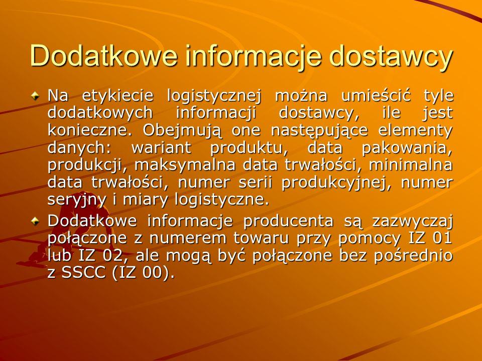 Dodatkowe informacje dostawcy Na etykiecie logistycznej można umieścić tyle dodatkowych informacji dostawcy, ile jest konieczne.