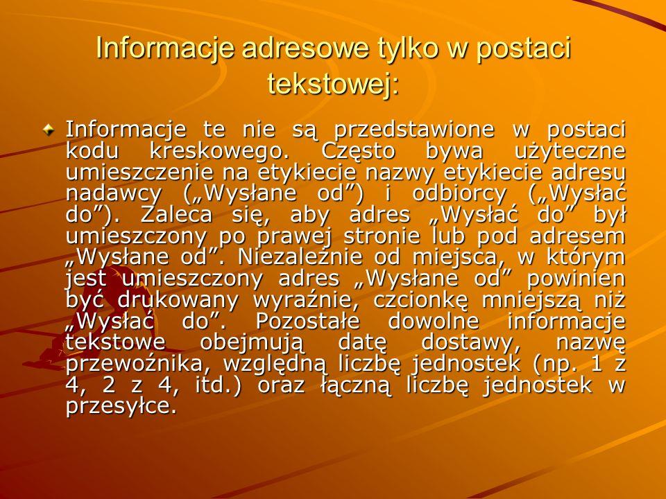 Informacje adresowe tylko w postaci tekstowej: Informacje te nie są przedstawione w postaci kodu kreskowego.