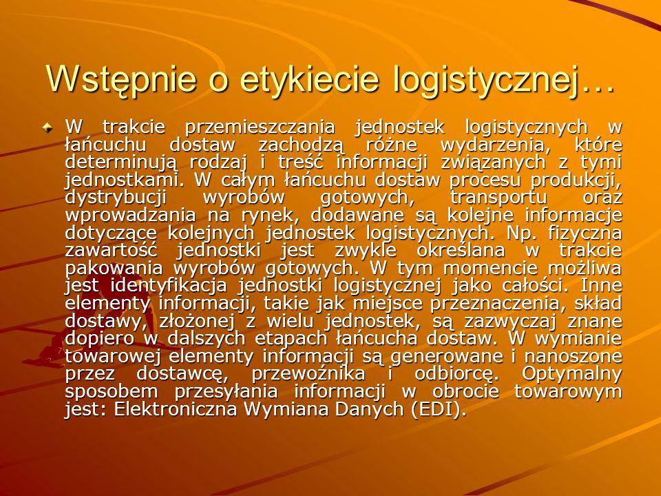 Wstępnie o etykiecie logistycznej… W trakcie przemieszczania jednostek logistycznych w łańcuchu dostaw zachodzą różne wydarzenia, które determinują rodzaj i treść informacji związanych z tymi jednostkami.