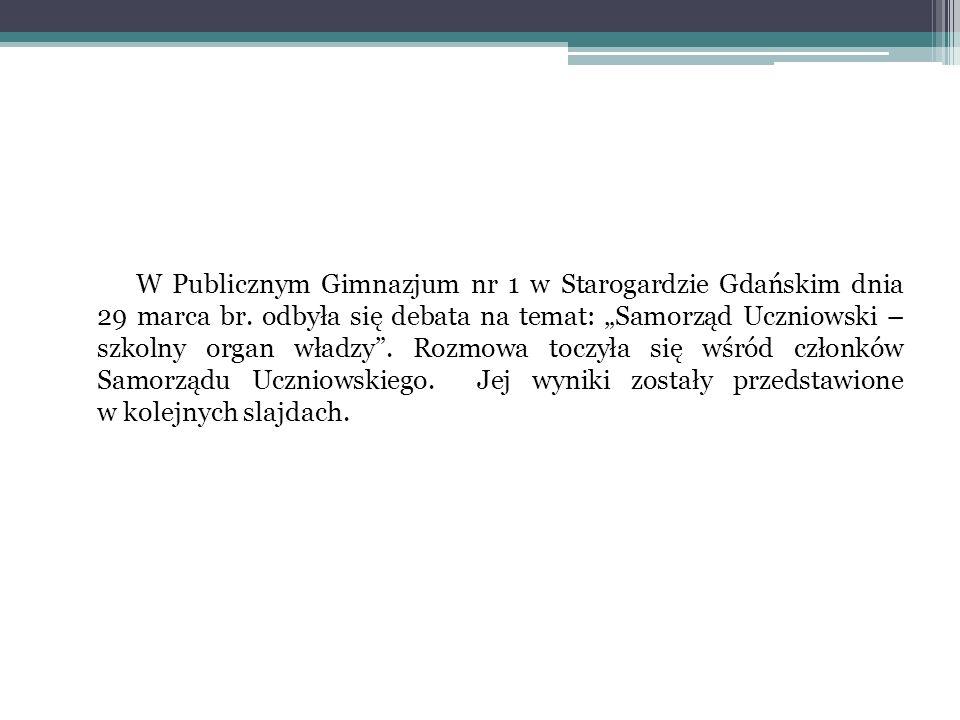 W Publicznym Gimnazjum nr 1 w Starogardzie Gdańskim dnia 29 marca br. odbyła się debata na temat: Samorząd Uczniowski – szkolny organ władzy. Rozmowa