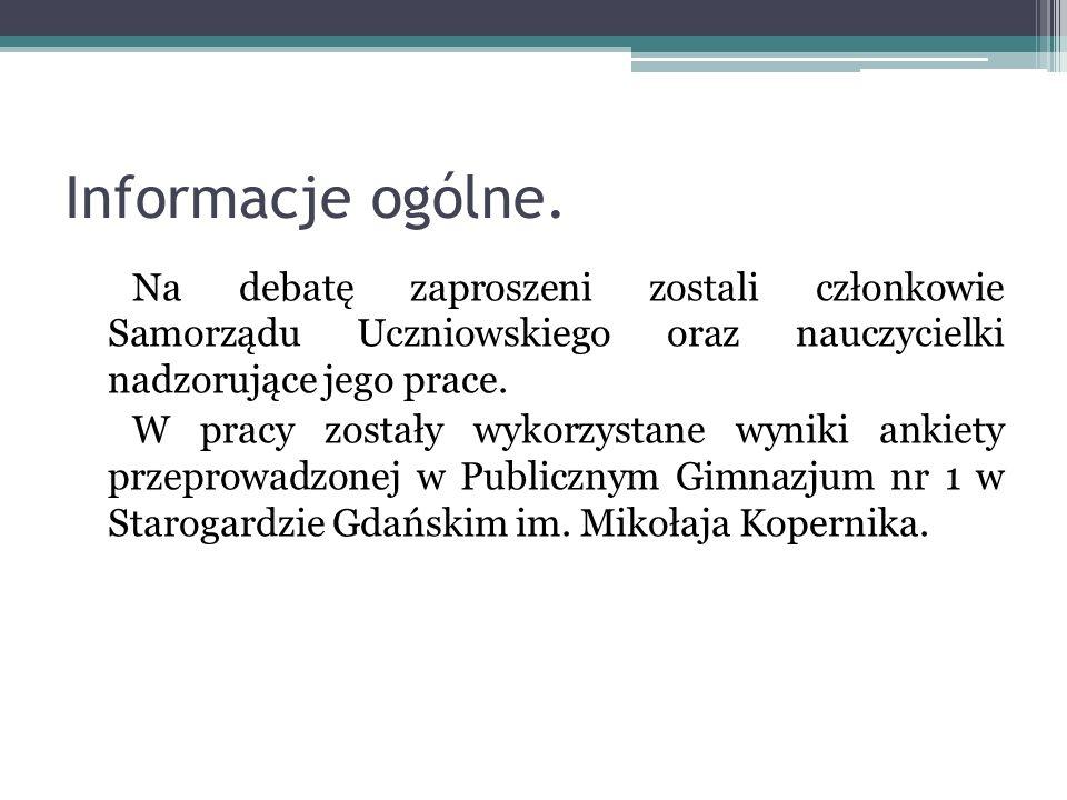 Informacje ogólne. Na debatę zaproszeni zostali członkowie Samorządu Uczniowskiego oraz nauczycielki nadzorujące jego prace. W pracy zostały wykorzyst