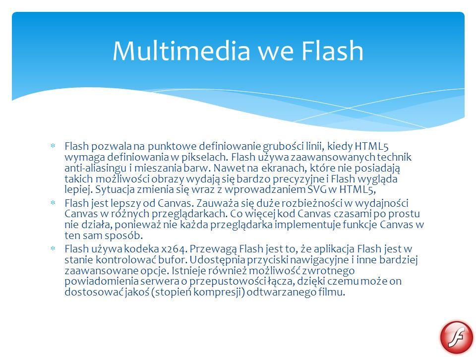 Flash pozwala na punktowe definiowanie grubości linii, kiedy HTML5 wymaga definiowania w pikselach. Flash używa zaawansowanych technik anti-aliasingu