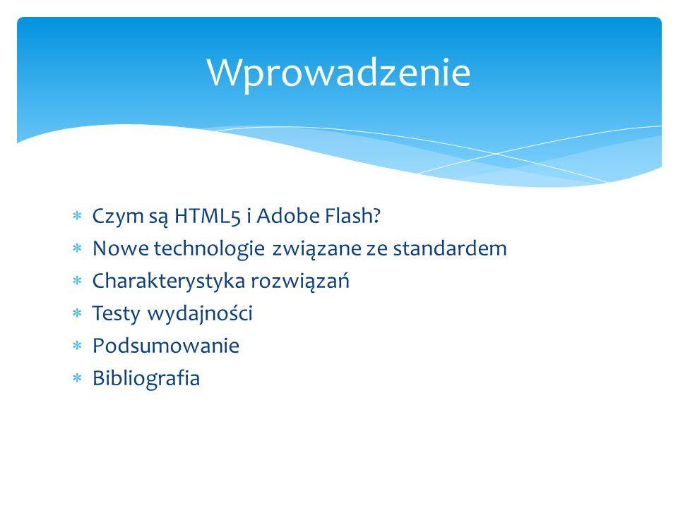 Czym są HTML5 i Adobe Flash? Nowe technologie związane ze standardem Charakterystyka rozwiązań Testy wydajności Podsumowanie Bibliografia Wprowadzenie