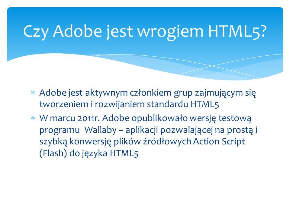 Adobe jest aktywnym członkiem grup zajmującym się tworzeniem i rozwijaniem standardu HTML5 W marcu 2011r. Adobe opublikowało wersję testową programu W