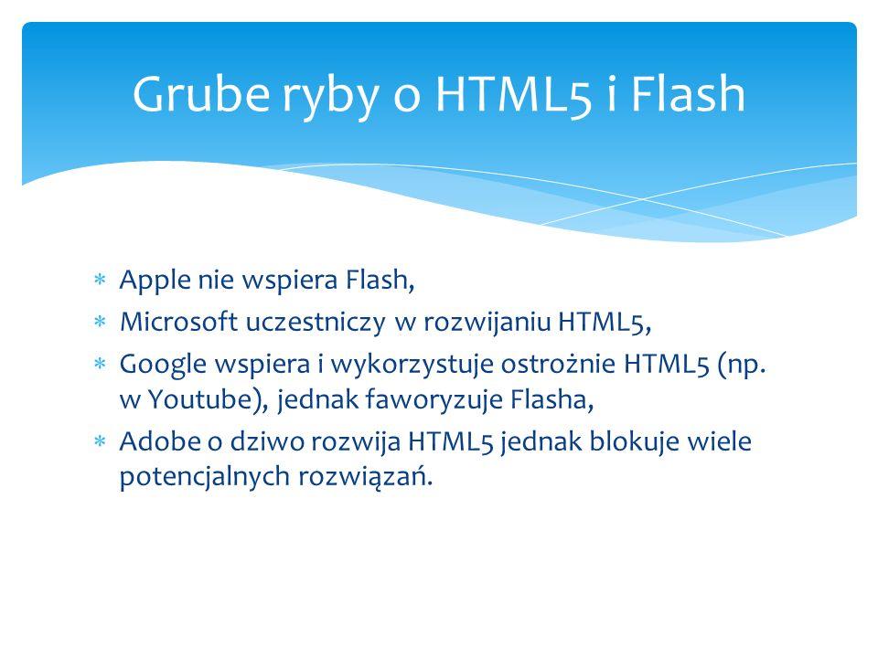 Apple nie wspiera Flash, Microsoft uczestniczy w rozwijaniu HTML5, Google wspiera i wykorzystuje ostrożnie HTML5 (np. w Youtube), jednak faworyzuje Fl