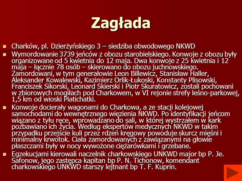 Zagłada Charków, pl. Dzierżyńskiego 3 – siedziba obwodowego NKWD Charków, pl. Dzierżyńskiego 3 – siedziba obwodowego NKWD Wymordowanie 3739 jeńców z o