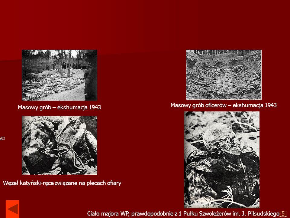 Masowy grób – ekshumacja 1943 Masowy grób oficerów – ekshumacja 1943 Węzeł katyński-ręce związane na plecach ofiary Ciało majora WP, prawdopodobnie z