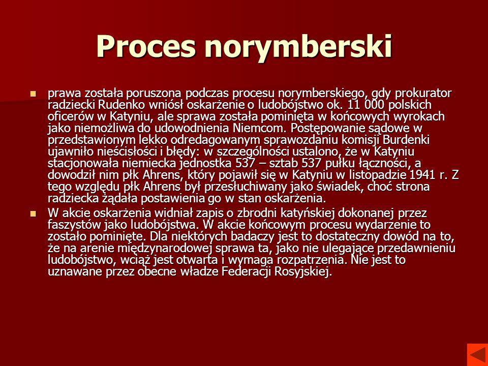 Proces norymberski prawa została poruszona podczas procesu norymberskiego, gdy prokurator radziecki Rudenko wniósł oskarżenie o ludobójstwo ok. 11 000
