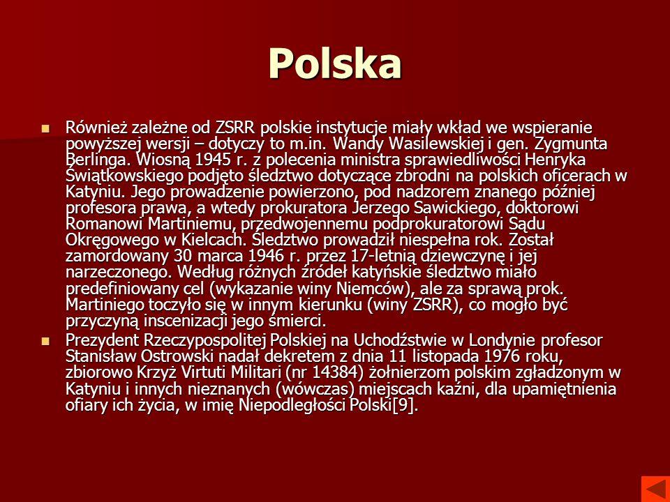 Polska Również zależne od ZSRR polskie instytucje miały wkład we wspieranie powyższej wersji – dotyczy to m.in. Wandy Wasilewskiej i gen. Zygmunta Ber