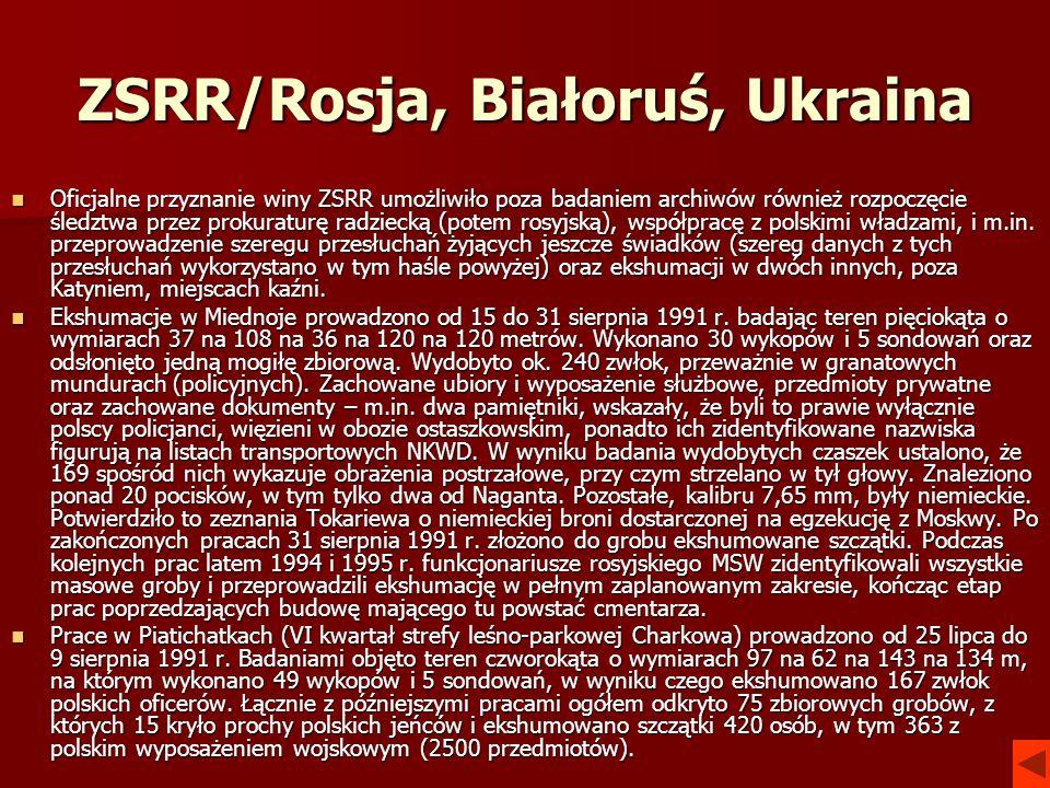 ZSRR/Rosja, Białoruś, Ukraina Oficjalne przyznanie winy ZSRR umożliwiło poza badaniem archiwów również rozpoczęcie śledztwa przez prokuraturę radzieck