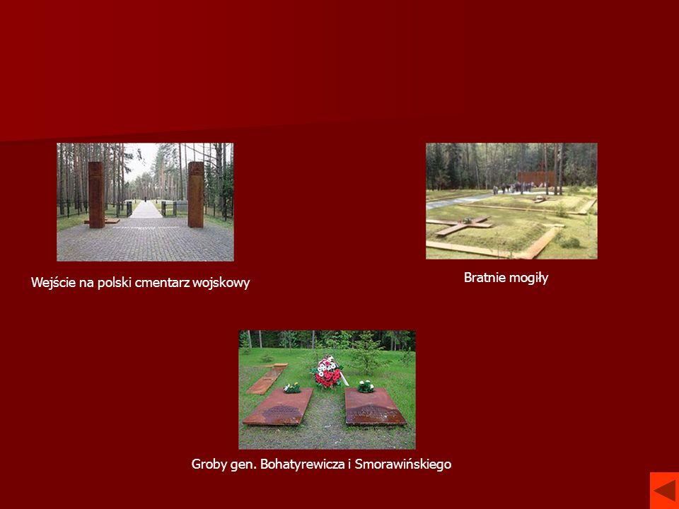 Wejście na polski cmentarz wojskowy Bratnie mogiły Groby gen. Bohatyrewicza i Smorawińskiego