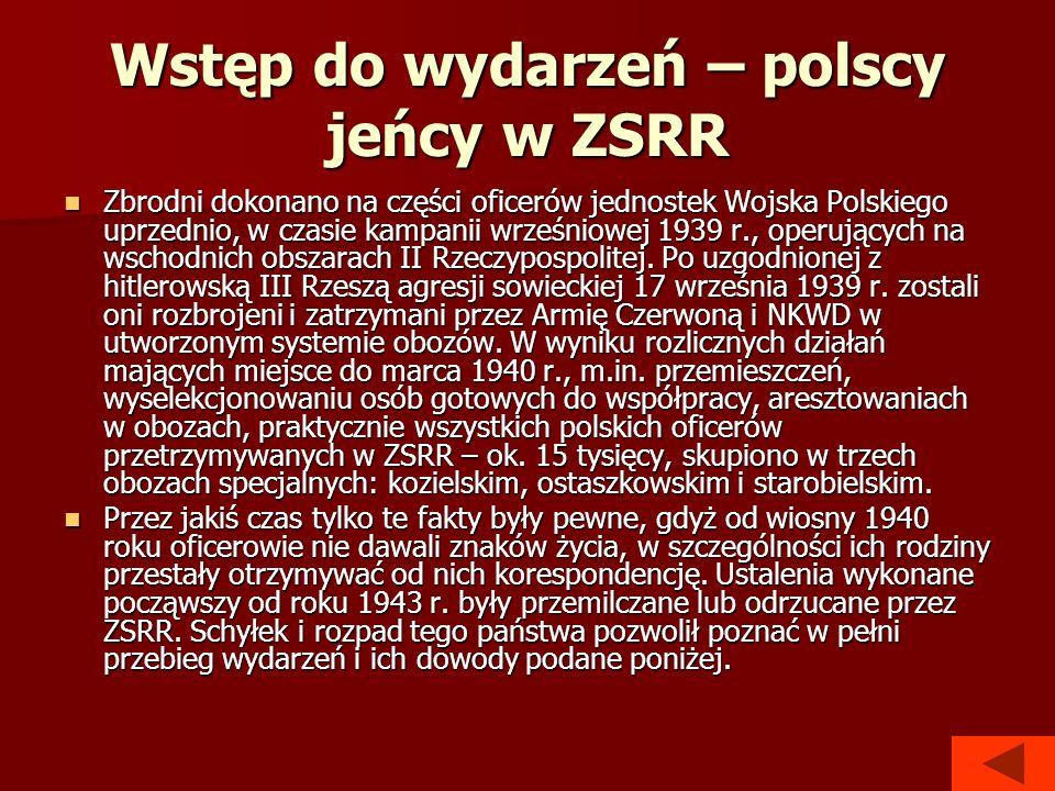 Wstęp do wydarzeń – polscy jeńcy w ZSRR Zbrodni dokonano na części oficerów jednostek Wojska Polskiego uprzednio, w czasie kampanii wrześniowej 1939 r