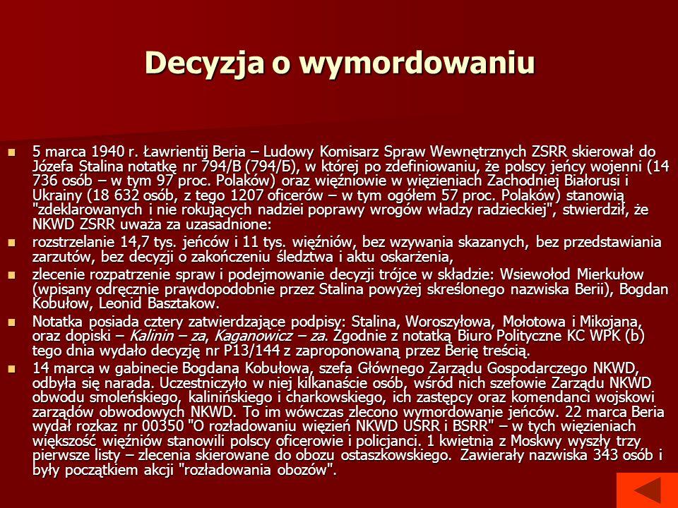 Decyzja o wymordowaniu 5 marca 1940 r. Ławrientij Beria – Ludowy Komisarz Spraw Wewnętrznych ZSRR skierował do Józefa Stalina notatkę nr 794/B (794/Б)