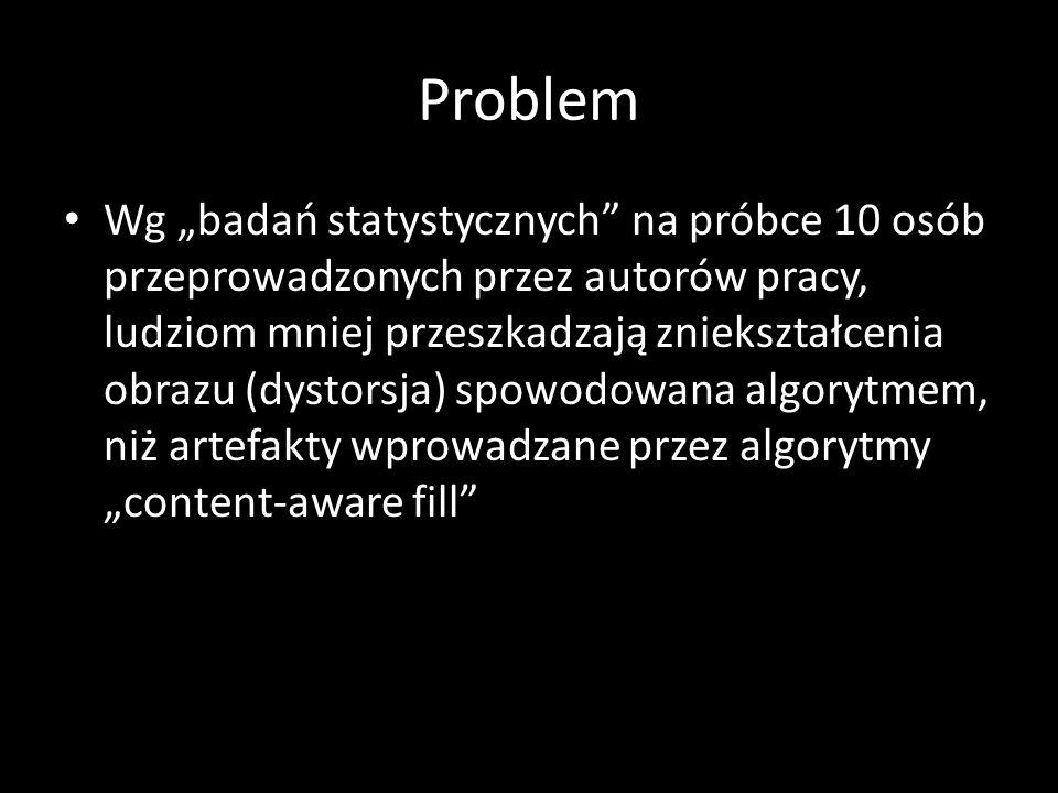 Problem Wg badań statystycznych na próbce 10 osób przeprowadzonych przez autorów pracy, ludziom mniej przeszkadzają zniekształcenia obrazu (dystorsja) spowodowana algorytmem, niż artefakty wprowadzane przez algorytmy content-aware fill