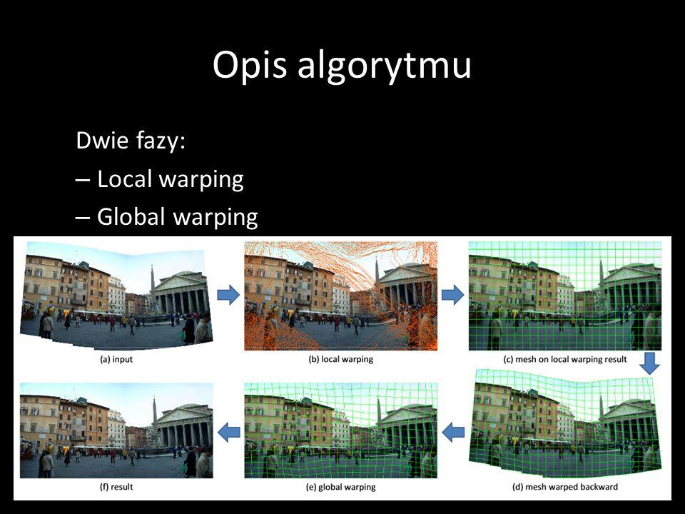 Local warping – nieco matematyczniej – Obliczamy displacement field u=(u x, u y ) – Warping obrazka wejściowego: I out (x) = I in (x+u(x)) Obrazek (ii): Na prawo od szwu, przesuwamy piksele o jeden w prawo, reszta się nie rusza, w powstałą dziurę wstawiamy szew I out (x,y) = I in (x – 1, y) – przesunięcie pikseli w prawo