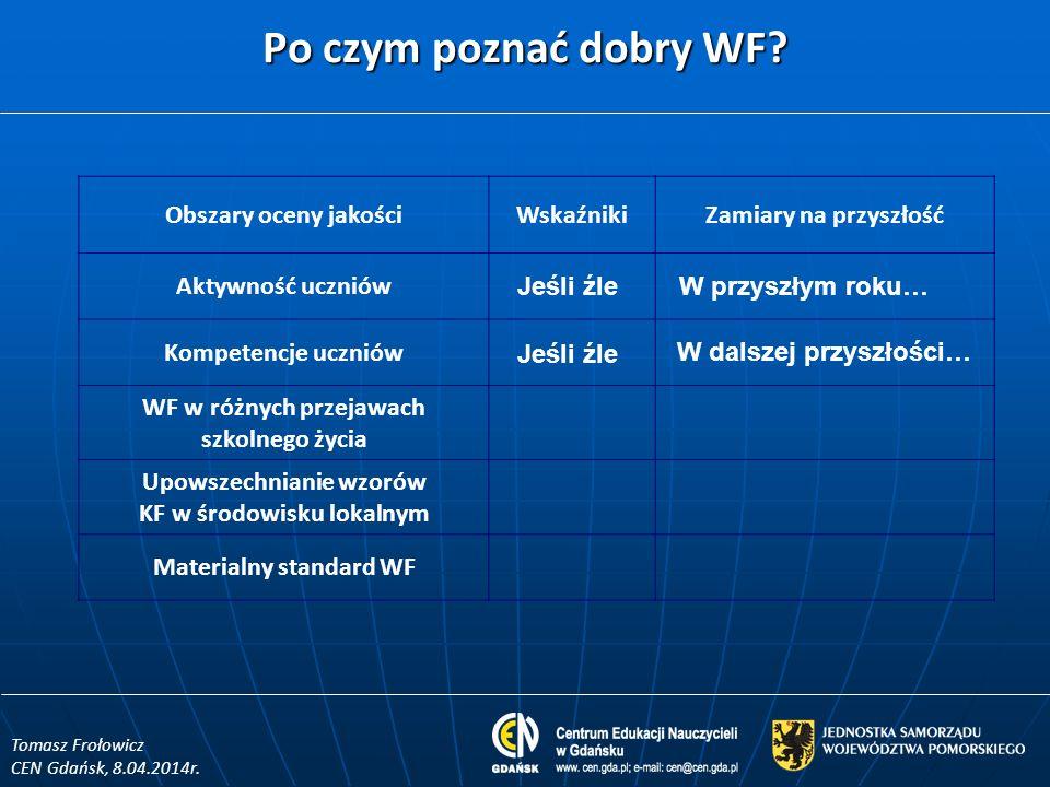 Po czym poznać dobry WF? Tomasz Frołowicz CEN Gdańsk, 8.04.2014r. Obszary oceny jakościWskaźnikiZamiary na przyszłość Aktywność uczniów Kompetencje uc