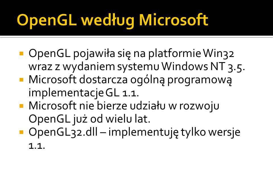 OpenGL pojawiła się na platformie Win32 wraz z wydaniem systemu Windows NT 3.5.