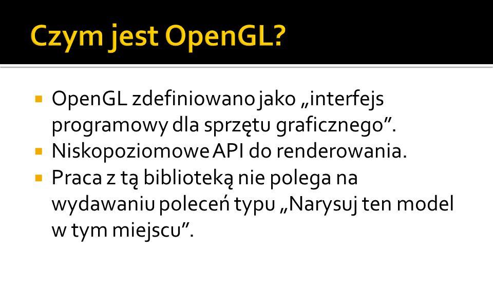 OpenGL zdefiniowano jako interfejs programowy dla sprzętu graficznego.