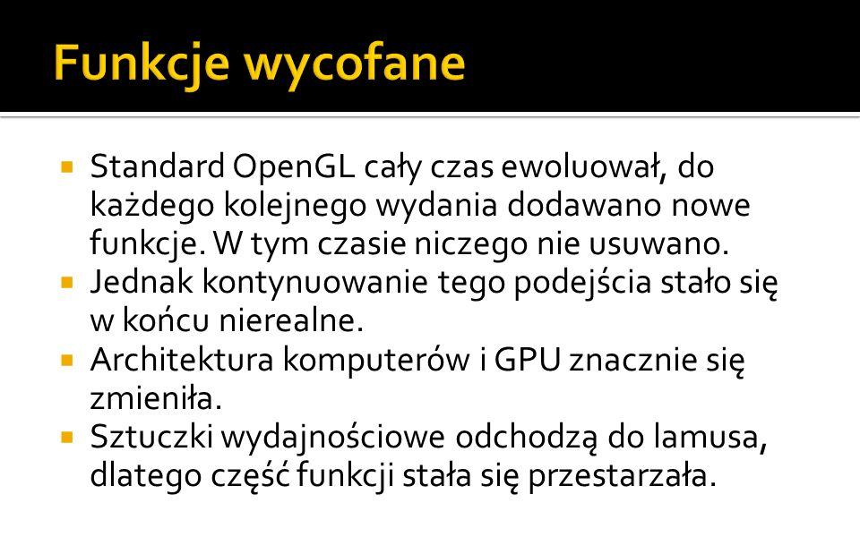 Standard OpenGL cały czas ewoluował, do każdego kolejnego wydania dodawano nowe funkcje.