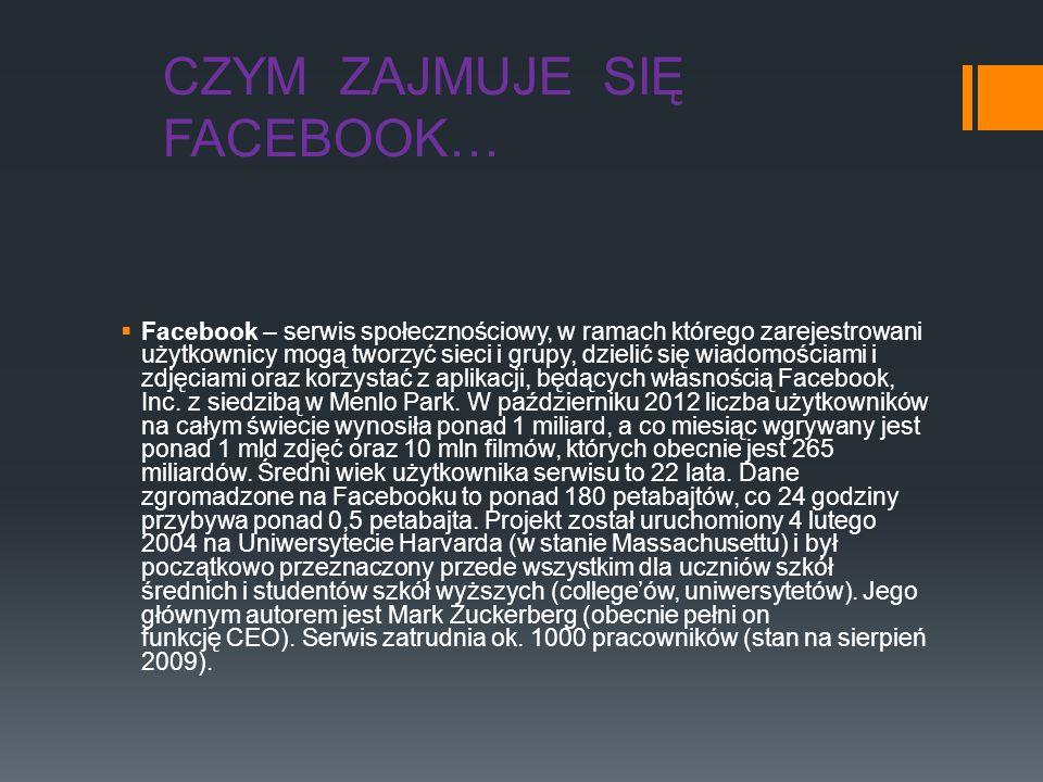 CZYM ZAJMUJE SIĘ FACEBOOK… Facebook – serwis społecznościowy, w ramach którego zarejestrowani użytkownicy mogą tworzyć sieci i grupy, dzielić się wiad