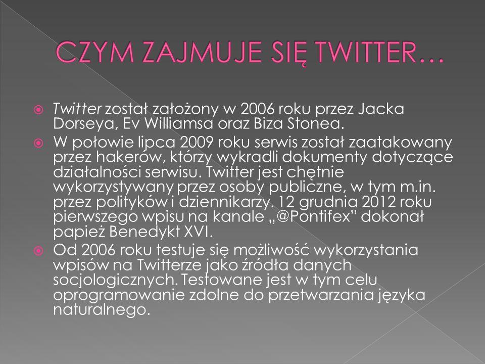 Twitter został założony w 2006 roku przez Jacka Dorseya, Ev Williamsa oraz Biza Stonea. W połowie lipca 2009 roku serwis został zaatakowany przez hake