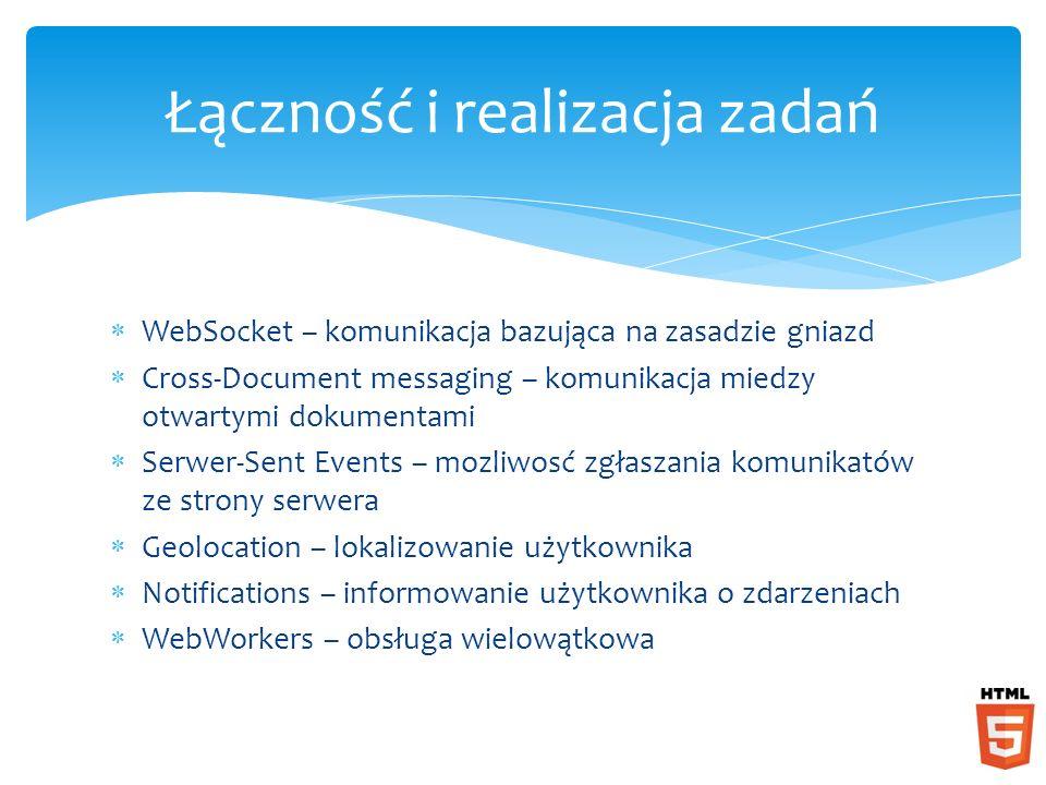 WebSocket – komunikacja bazująca na zasadzie gniazd Cross-Document messaging – komunikacja miedzy otwartymi dokumentami Serwer-Sent Events – mozliwosć zgłaszania komunikatów ze strony serwera Geolocation – lokalizowanie użytkownika Notifications – informowanie użytkownika o zdarzeniach WebWorkers – obsługa wielowątkowa Łączność i realizacja zadań