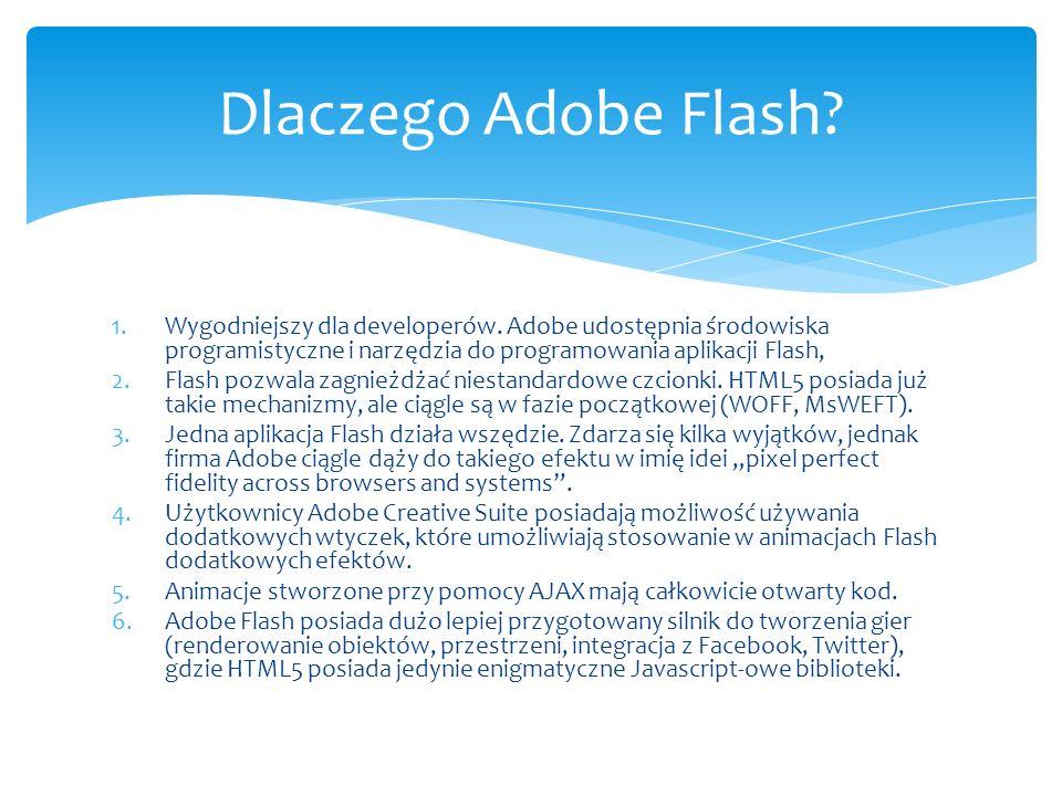 1.Wygodniejszy dla developerów. Adobe udostępnia środowiska programistyczne i narzędzia do programowania aplikacji Flash, 2.Flash pozwala zagnieżdżać