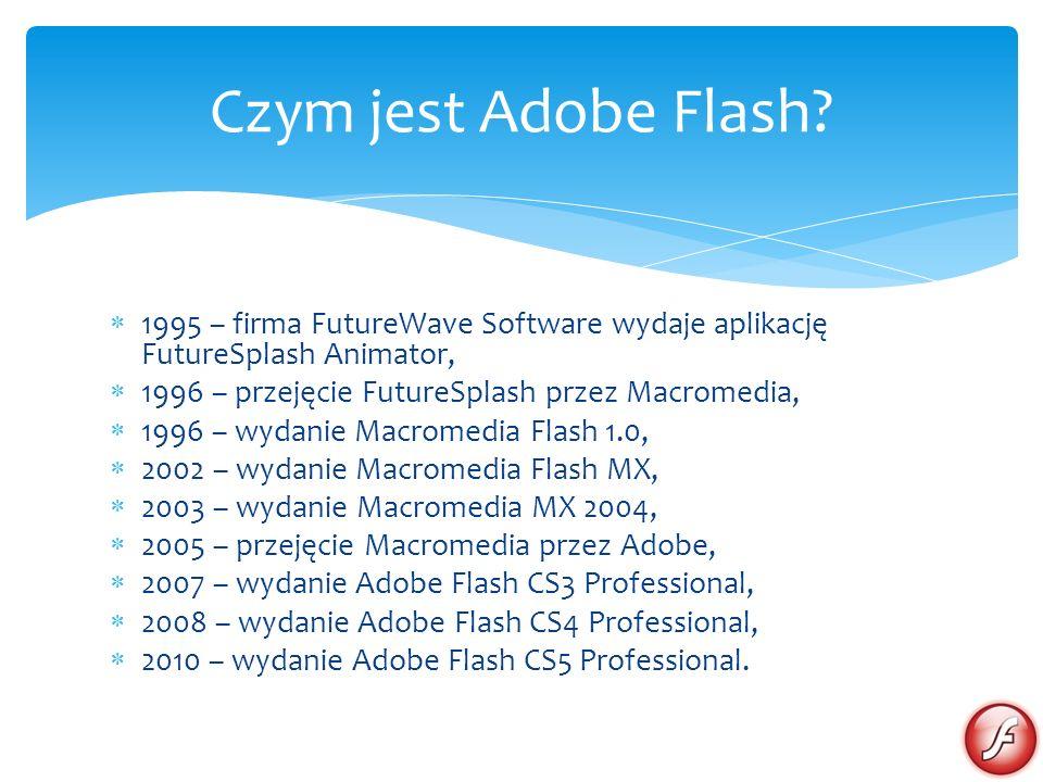 1995 – firma FutureWave Software wydaje aplikację FutureSplash Animator, 1996 – przejęcie FutureSplash przez Macromedia, 1996 – wydanie Macromedia Flash 1.0, 2002 – wydanie Macromedia Flash MX, 2003 – wydanie Macromedia MX 2004, 2005 – przejęcie Macromedia przez Adobe, 2007 – wydanie Adobe Flash CS3 Professional, 2008 – wydanie Adobe Flash CS4 Professional, 2010 – wydanie Adobe Flash CS5 Professional.