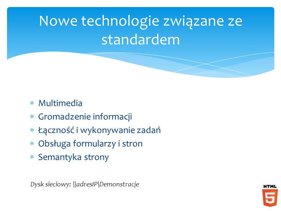 Multimedia Gromadzenie informacji Łączność i wykonywanie zadań Obsługa formularzy i stron Semantyka strony Nowe technologie związane ze standardem Dysk sieciowy: \\adresIP\Demonstracje