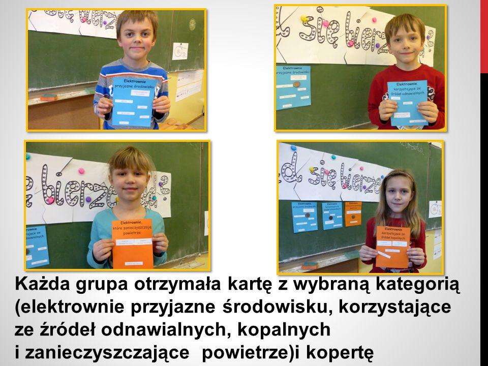 Dzieci bardzo sprawnie poradziły sobie z przyporządkowaniem elektrowni do odpowiednich kategorii i zaprezentowały kolegom efekty swojej pracy.