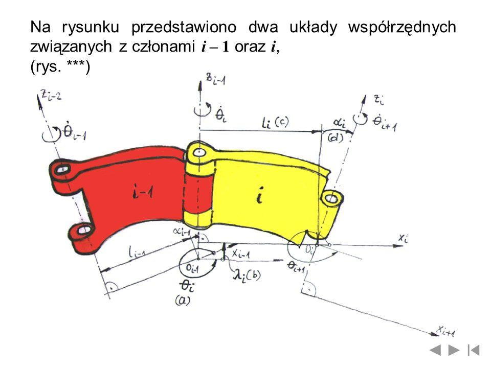 Na rysunku przedstawiono dwa układy współrzędnych związanych z członami i – 1 oraz i, (rys. ***)