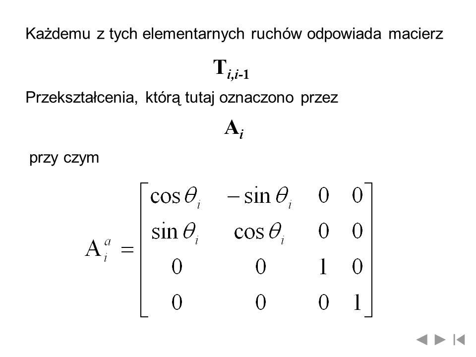 Każdemu z tych elementarnych ruchów odpowiada macierz T i,i-1 Przekształcenia, którą tutaj oznaczono przez AiAi przy czym