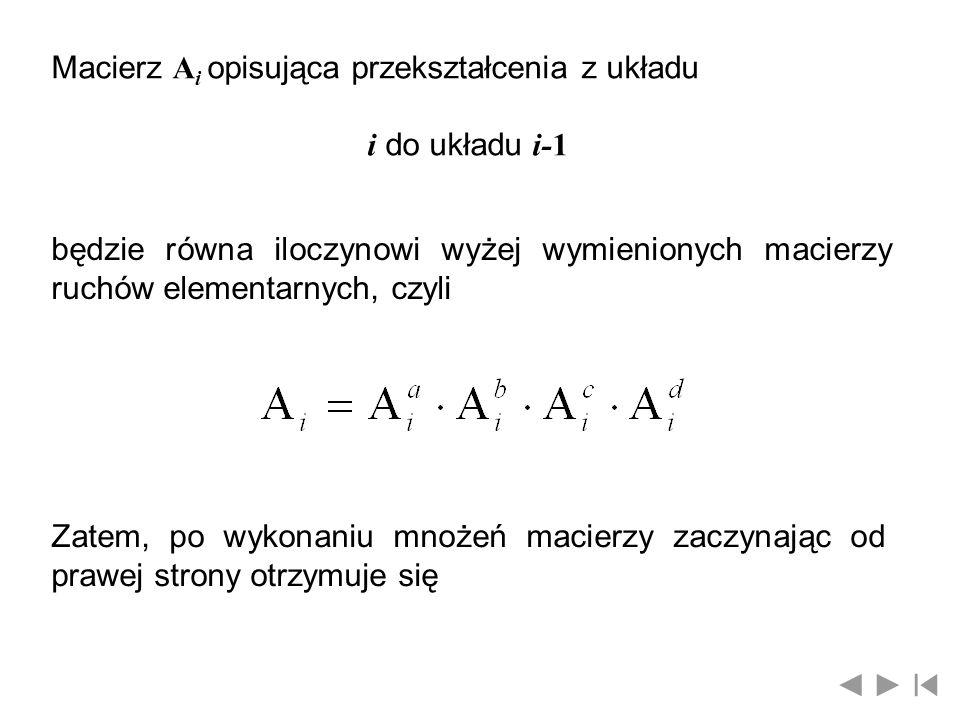 Macierz A i opisująca przekształcenia z układu i do układu i-1 będzie równa iloczynowi wyżej wymienionych macierzy ruchów elementarnych, czyli Zatem,