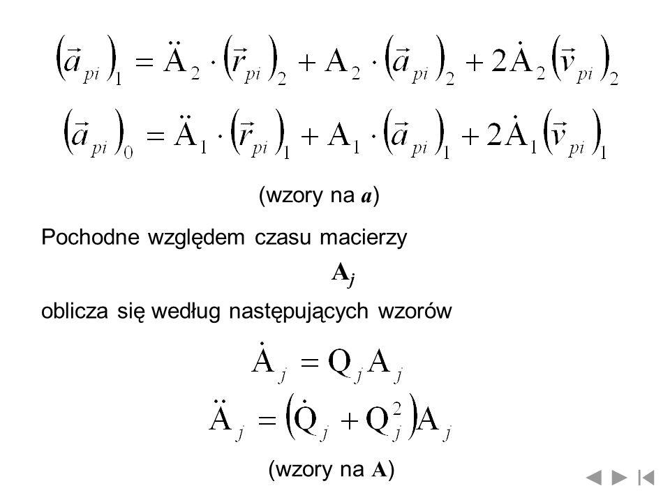 (wzory na a ) Pochodne względem czasu macierzy AjAj oblicza się według następujących wzorów (wzory na A )