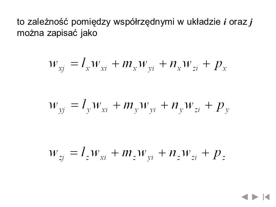 lub w formie symbolicznej gdzie: - macierz przekształcenia współrzędnych wektoraz układu i do układu j Wyznacznik macierzy { 1, gdy obydwa układy są prawoskrętne -1, gdy jeden jest prawo- a drugi lewoskrętny