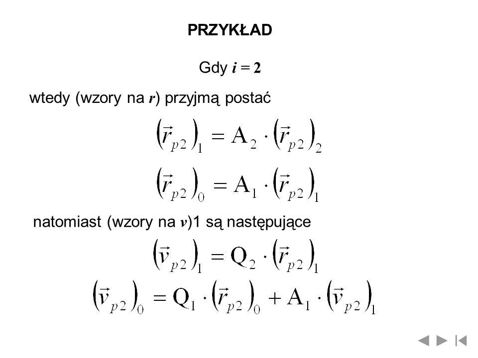 PRZYKŁAD Gdy i = 2 wtedy (wzory na r ) przyjmą postać natomiast (wzory na v )1 są następujące